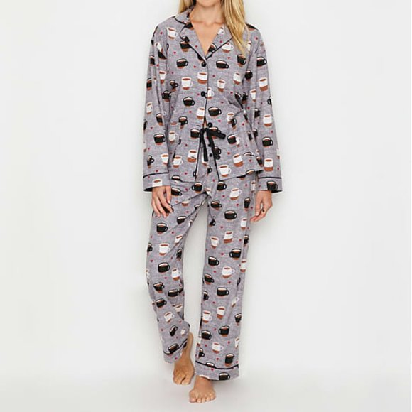 PJ Salvage Womens Loungewear Smiley Flannel Pant Pajama Bottom